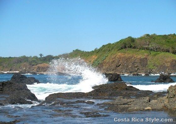 Costa Rica Beach Rocks Splash