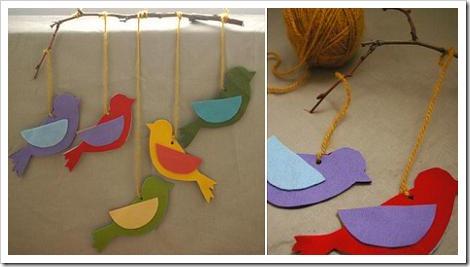 Manualidades móvil pájaros | Jugar y colorear