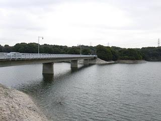 右岸より佐布里大橋とダム湖を望む