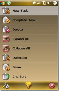 tasks menu