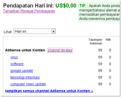 channel adsense