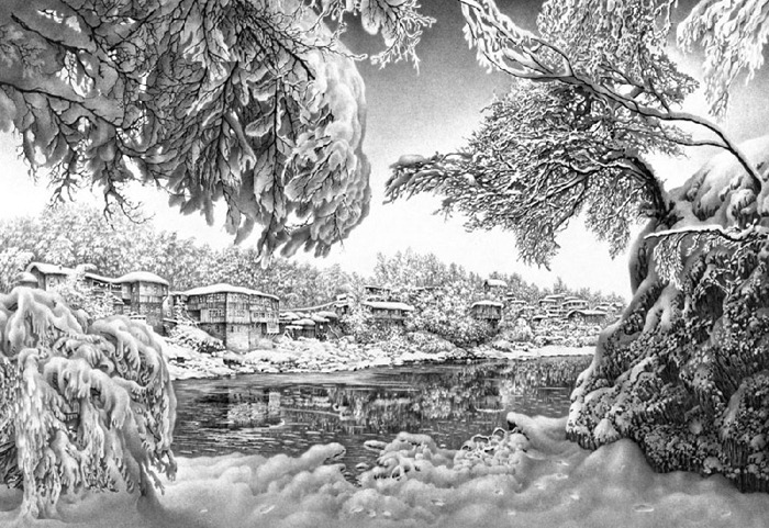 Painting with pencil By Mr. Guram Dolenjashvili