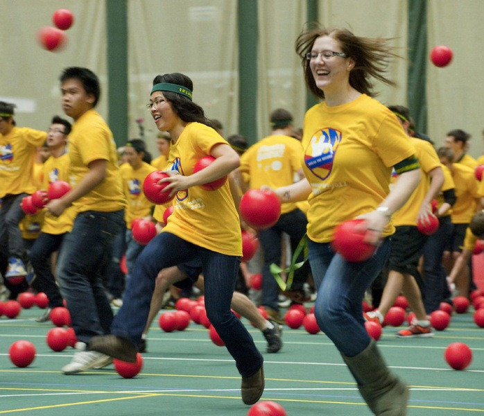 Two thousand and twelve students try to reclaim the Guinness World Record for most people in a dodge ball game, in Edmonton, Alberta, on Friday, February 4, 2011.  The record attempt at the Butterdome, Universiade Pavilion on the University of Alberta campus eclipsed the current record which was set by just over 1700 students. THE CANADIAN PRESS/John Ulan