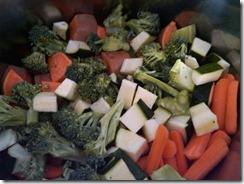 cut up broccoli, sweet potato, zucchini and carrots