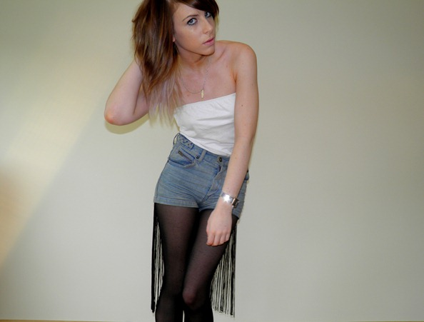 FRINGED TASSLE DENIM SHORTS 2