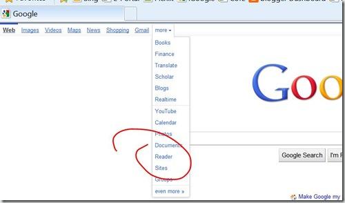 Google Reader main page