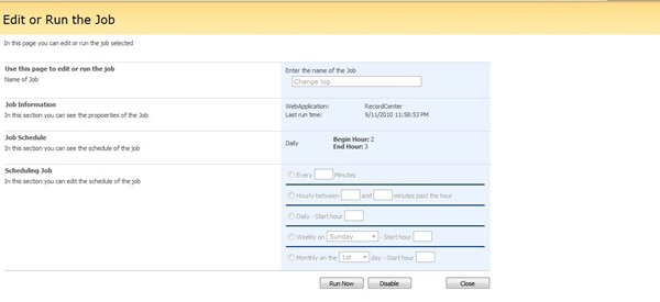 5 Job Configured in SharePoint 2007