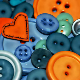 Blue and Orange Buttons by Rhonda Musgrove - Artistic Objects Clothing & Accessories ( sewing, orange, blue, still life, buttons, notions, orange. color )