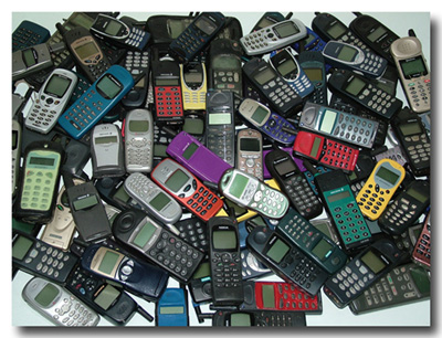 Used mobile phones in a recycling facility