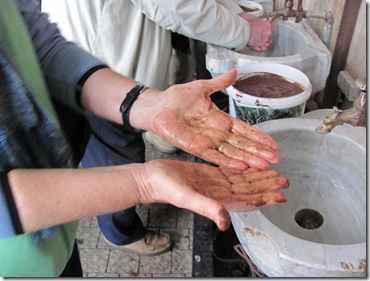 Hand Washing with Olive Pit Paste