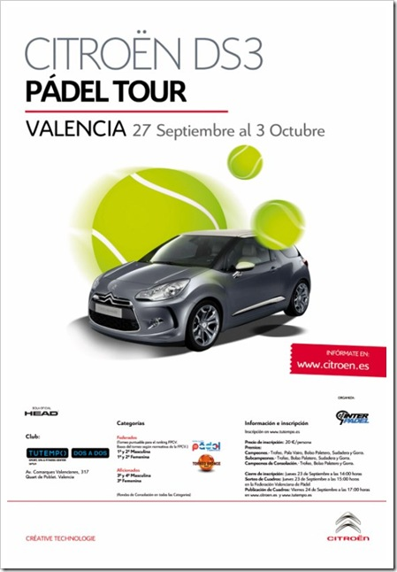 Cartel CITROEN DS3 PADEL TOUR - Valencia [800x600]