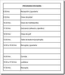 planing diario campamento semana santa green canal 2011