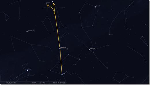 Orion to Gemini (Image by Stellarium http://www.stellarium.org/)