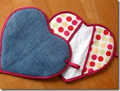 heart potholders front and back