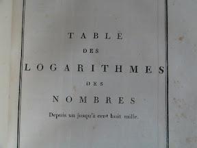 Portada de la tabla de logaritmos propiamente dicha.