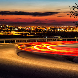 Driving by Florin Ihora - Landscapes Travel ( curve, drive, sunset, light trails, cityscape )