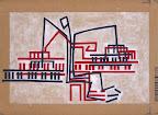 """Il pianista-1 -  """"il costruttore di architetture musicali"""" - acrilico su cartone - 23 x 32 cm"""