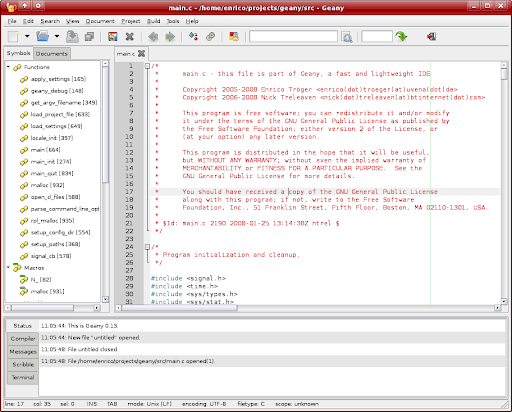 Geany source code editor