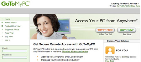 GoToMyPc - remote printing software