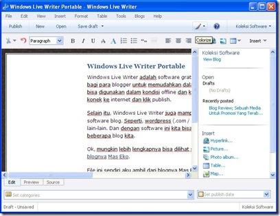 Windows Live Writer Portable
