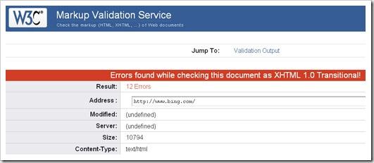 bing invalid html
