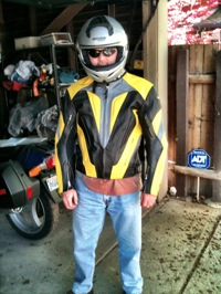 Andrew suited up to go motorcycling