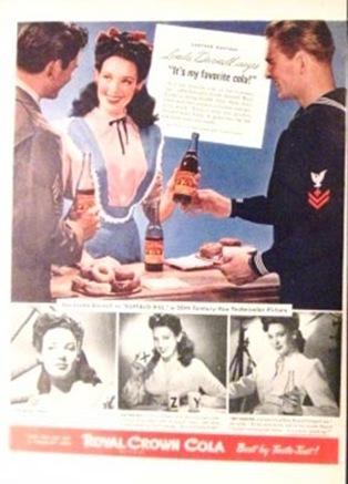 1943-ROYAL-CROWN-COLA-LINDA-DARNELL-&-Soldier