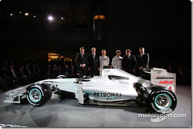 25.01.2010 Stuttgart, Germany,  CAR presentation with Michael Schumacher (GER, Mercedes GP Petronas F1 Team) and Nico Rosberg (GER / MCO, Mercedes GP Petronas F1 Team) / Mercedes Heads and the drivers in front of the Museum - Mercedes GP Presentation - www.xpb.cc, EMail: info@xpb.cc - copy of publication required for printed pictures. Every used picture is fee-liable © Copyright: xpb.cc