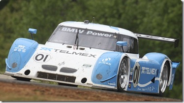 ALTON, VA - APRIL 24:  The #01 BMW Riley of Scott Pruett and Memo Rojas crests a hill during the Bosch Engineering 250 at Virginia International Raceway on April 24, 2010 in Alton, Virginia.  (Photo by Brian Cleary/Getty Images)