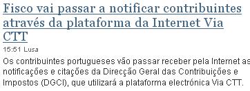 Fisco vai passar a notificar contribuintes através da plataforma da Internet Via CTT