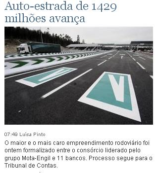 Auto-estrada de 1429 milhões avança
