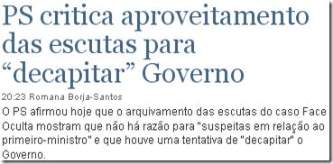 """PS critica aproveitamento das escutas para """"decapitar"""" Governo"""