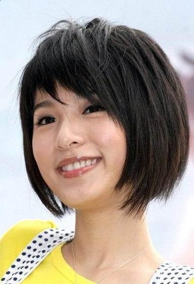 cute short Asian haircut with side bangs for round, square face shapes