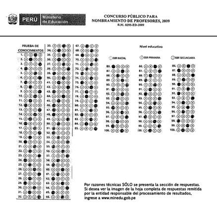 Hoja de Respuestas del Examen de nombramiento de profesores