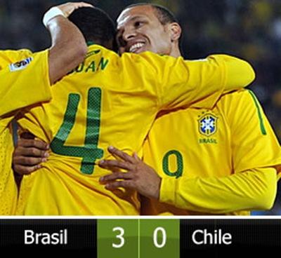 Brtasil goleo 3-0 a Chile