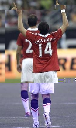 Javier Hernández celebrando su golazo ante el Major League Soccer All-Stars