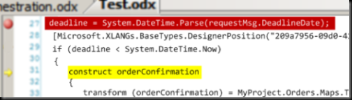 Example of orchestration being debugged in Visual Studio debugger