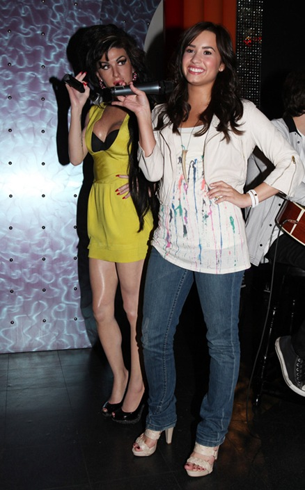 **EXCLUSIVE**  Demi Lovato with Amy Winehouse wax figure beside