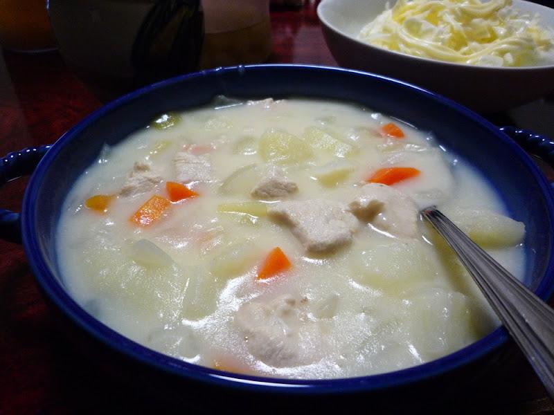 pasta, cream stew, chorizo, パスタ, クリームシチュー, チョリソ