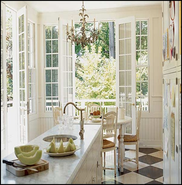 Kitchen With French Doors: Good Life Of Design: Black And White Floors