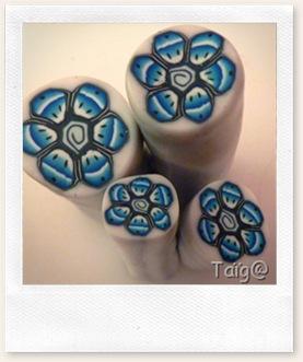Canes fleurs bleues après réduction