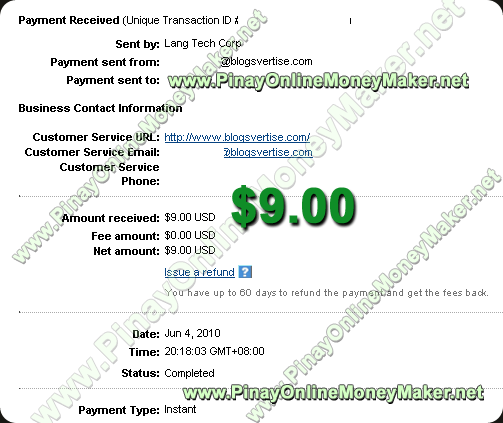 Blogsvertise Payment Proof 2010 June 4th