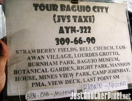 Baguio City tour packages are available from JVS Taxi - JustAnotherPixel.net