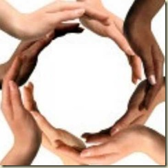 Mãos em círculo dos blogs Purgly
