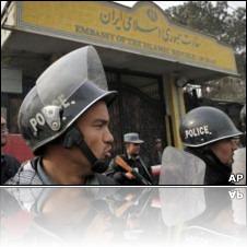 ماموران امنیتی در برابر ساختمان سفارت ایران در کابل مستقر بودند