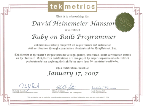 ruby on rails certificate