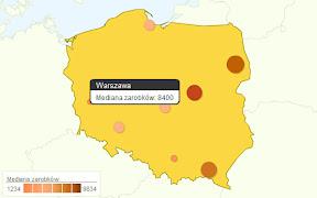 Mapa zarobków programistów w Polsce
