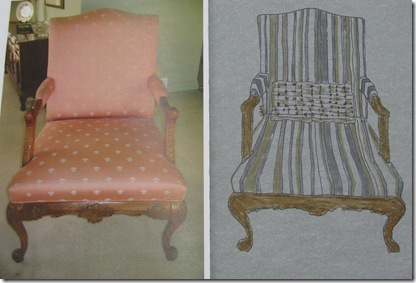 Chair with new stripe fabric drawing