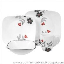 Square 16 Piece Dinnerware Set in Mandarin Flower