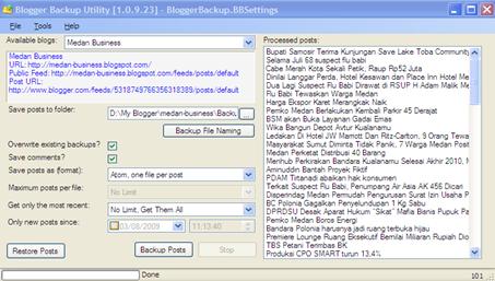 Blogger Backup Utility
